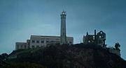 Alcatraz cellhouse, lighthouse and Warden's House ruins