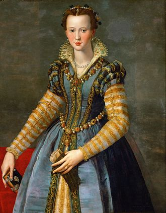 "Eleonora di Garzia di Toledo - ""This Eleonora was a tall young woman, charming and beautiful, of becoming presence and endowed with courtly manners and virtuous habits."" Portrait: Alessandro Allori, Eleonora ('Dianora') di Don Garzia di Toledo di Pietro de'Medici, circa 1571."