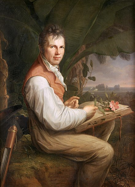 German explorer Alexander von Humboldt showed his disgust for slavery and often criticized the colonial policies--he always acted out of a deeply humanistic conviction, borne by the ideas of the Enlightenment Alexandre humboldt.jpg