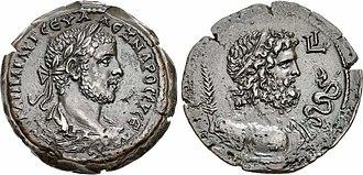 History of Alexandria - Drachma of Alexandria, 222-235 AD. Obverse: Laureate head of Alexander Severus, KAI(ΣΑΡ) MAP(ΚΟΣ) AYP(ΗΛΙΟΣ) ΣЄY(ΑΣΤΟΣ) AΛЄΞANΔPOΣ ЄYΣЄ(ΒΗΣ). Reverse: Bust of Asclepius.
