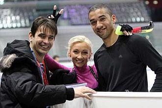 Aliona Savchenko - Savchenko and Szolkowy with their coach Ingo Steuer in 2007