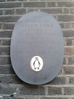 Penguin Books - The plaque marking the fiftieth anniversary of the founding of Penguin Books by Allen Lane at 8 Vigo Street.