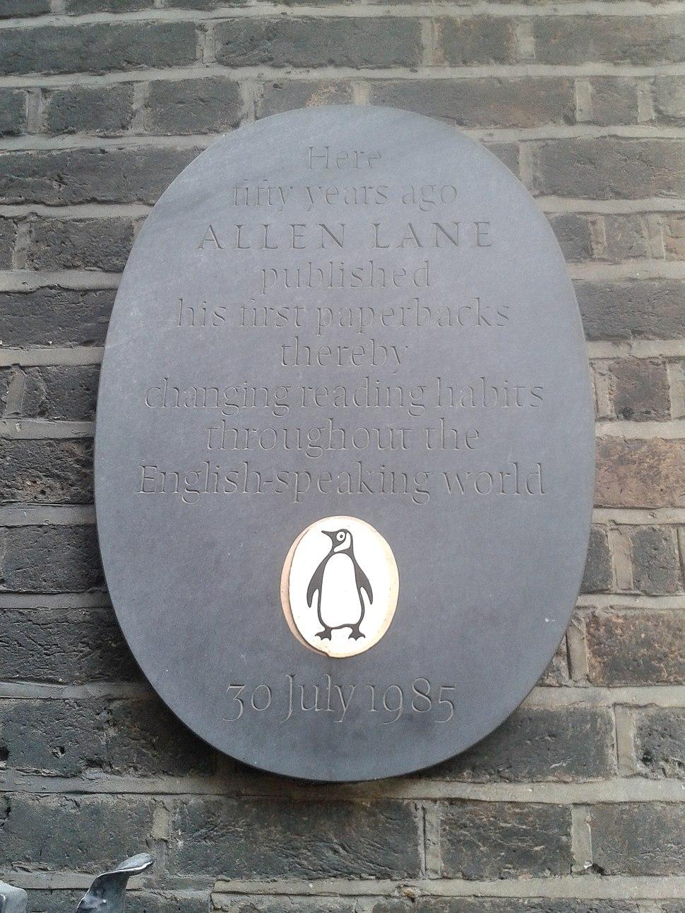 Allen Lane Penguin plaque 8 Vigo Street