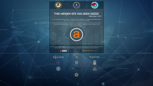 AlphaBay - This notice was left on the Tor hidden service after AlphaBay raid.