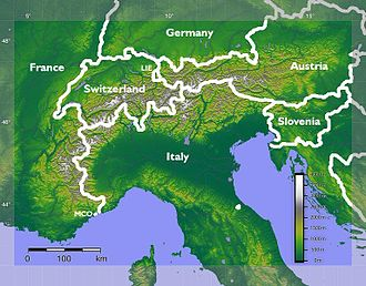 Alps - The Alps extend in an arc from France in the south and west to Slovenia in the east, and from Monaco in the south to Germany in the north.