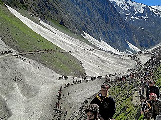 Amarnath pilgrimage terrorist-attack massacre (2002) - Amarnath Yatra in the glacial heights of Himalayas in Kashmir valley.