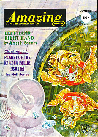 "James H. Schmitz - Schmitz's novella ""Left Hand, Right Hand"" was the cover story on the November 1962 issue of Amazing Stories"