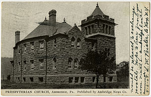Ambridge, Pennsylvania - Presbyterian church in Ambridge from a pre-1923 postcard