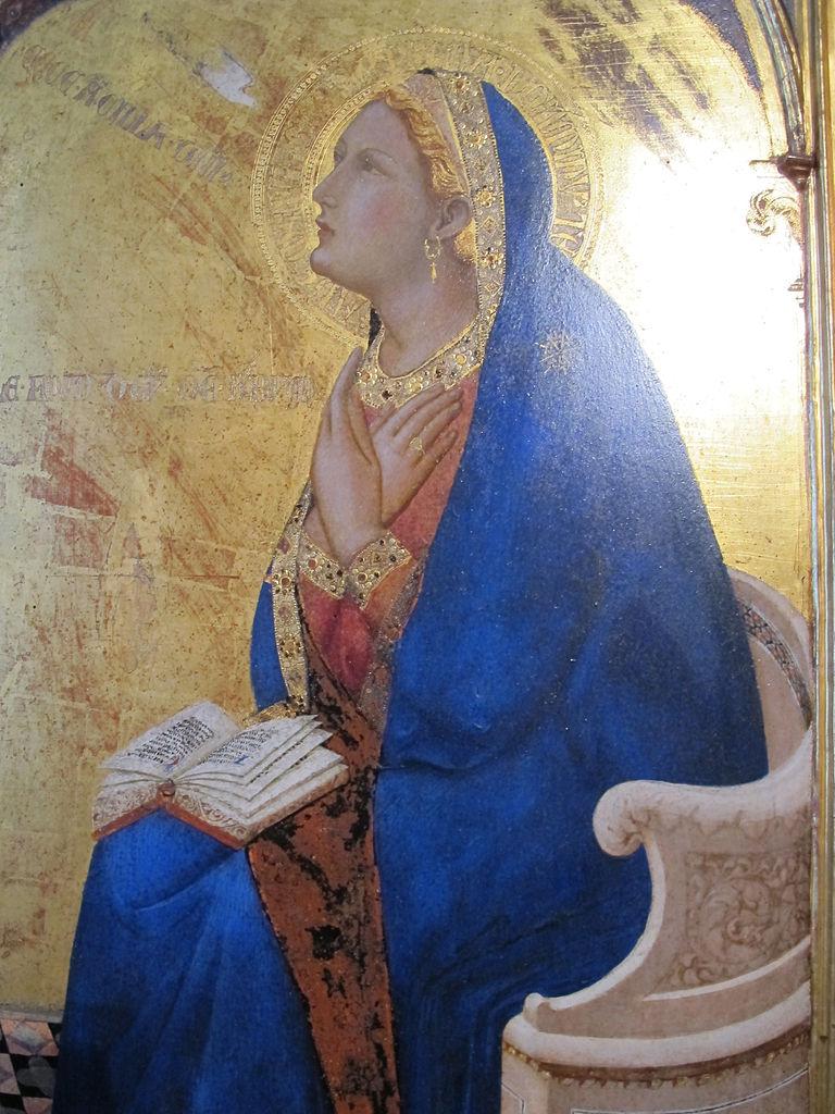 Ambrogio Lorenzetti, Annunciazione, (particolare dell'arcangelo san Gabriele), 1344, Pinacoteca Nazionale, Siena