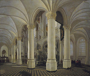 Gerard Houckgeest - Gerard Houckgeest, Ambulatory of the New Church in Delft, with the tomb of William the Silent, 1651
