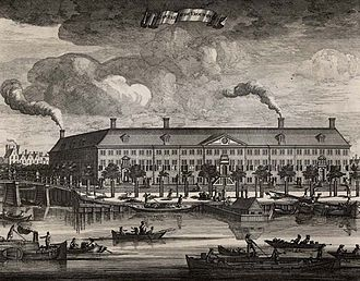 Hermitage Amsterdam - A 1693 etching of the Amstelhof, showing the building out of proportions