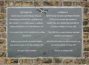 Cornish rebellion of 1497 - Commemorative plaque in Cornish and English for Michael Joseph the Smith (An Gof) and Thomas Flamank mounted on the north side of Blackheath, south east London, near the south entrance to Greenwich Park