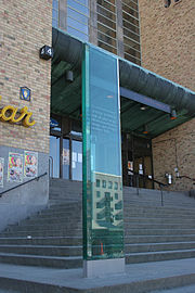Anna Lindh memorial in Stockholm, marking the spot where Lindh's last speech was held