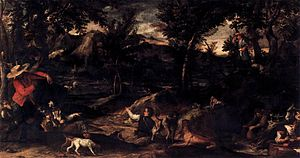 Fishing (Carracci) - Hunting Scene by Annibale Carracci (before 1595), 1.36 m x 2.53 m