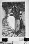 aquarel tekening interieur trap naar regentenzaal (aanbouw van regentenhuis) -