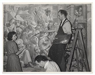 Queens Hospital Center - William C. Palmer working on a mural in Queens General Hospital in 1936