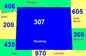 Area code 307 - Image: Area code WY