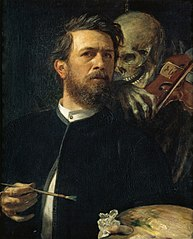 Self-portrait with fiddling Death