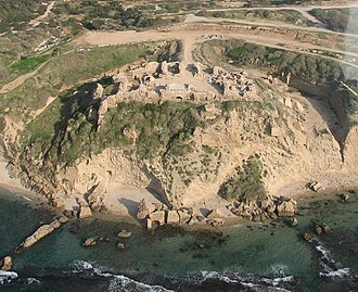 Apollonia-Arsuf - An aerial view of the Crusader castle and anchorage