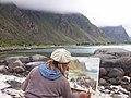 Artist (Maira) painting Hadseløya beach - panoramio.jpg
