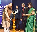 Arun Jaitley lighting the lamp on the occasion of the Diamond Jubilee Year & Founding Day 2016 of the Directorate of Revenue Intelligence, Central Board of Excise and Custom (CBEC), in New Delhi.jpg