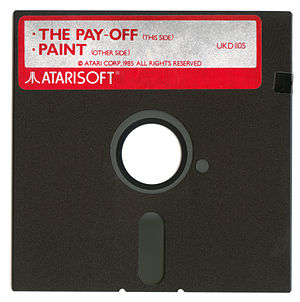 "Atarisoft - Atarisoft-branded ""Paint"" / ""The Pay-Off"" floppy disk supplied as part of ""Software Pack"" in computer bundle."