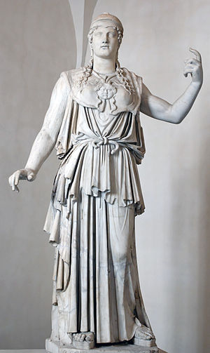 "Athena - Marble Greek copy signed ""Antiokhos"", a 1st-century BC variant of Phidias' 5th century Athena Promachos that stood on the Acropolis"
