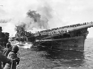 Aircraft carrier USS Franklin (CV-13) attacked...