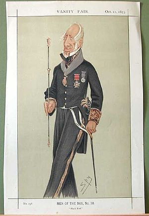 Black Rod - Caricature from Vanity Fair of Admiral Sir Augustus W.J. Clifford, 1st Bt, as Black Rod.