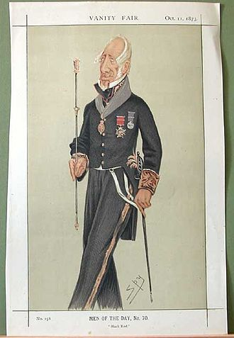 Black Rod - Caricature from Vanity Fair of Admiral Sir Augustus W. J. Clifford, 1st Bt, as Black Rod.
