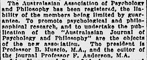 Australasian Journal of Philosophy -         Sydney Morning Herald, Tuesday, 14 October 1924.
