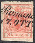 Austria 1850 3Kr Ib laid paper ROMANS.jpg