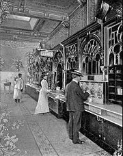 Drawing of automat on 1904 postcard
