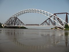 Ayub Bridge (front) and Lansdowne Railway Bridge on River Indus near Sukkur