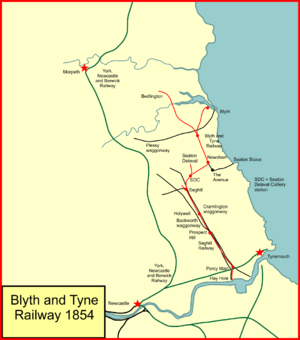 Blyth and Tyne Railway - System map of the Blyth and Tyne Railway in 1854