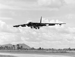 U-Tapao Royal Thai Navy Airfield - A B-52D approaching U-Tapao in October 1972.