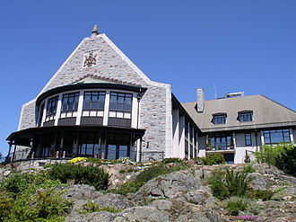 Government House (British Columbia) - The southeast view of Government House from below, showing the bow window of the Ballroom at left