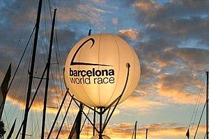Barcelona World Race - A BWR balloon at the 2010 pontoon.
