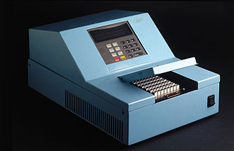"Polymerase chain reaction - ""Baby Blue"", a 1986 prototype machine for doing PCR"