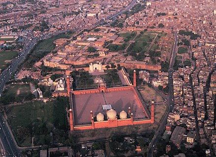Lahore's Hazuri Bagh is at the centre of an ensemble of Mughal and Sikh era monuments, including the Badshahi Mosque, Lahore Fort, Roshnai Gate, and the Samadhi of Ranjit Singh. Badshahi Mosqu - Mughal Art in an Ocean of Concrete.jpg