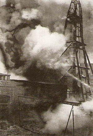 Battle of Baku - The oil derricks of Baku shelled during the battle.