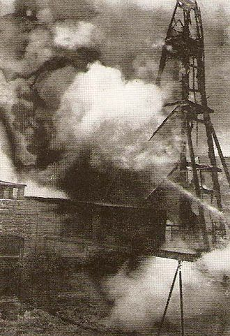 Battle of Baku - The oil derricks of Baku shelled during the battle.
