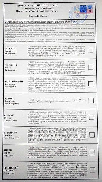 File:Ballot paper Russia president election 2018.jpg