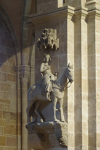 The Bamberg Horseman, a local symbol. Bamberger Reiter BW 2.JPG