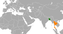 Map indicating locations of Bangladesh and Thailand