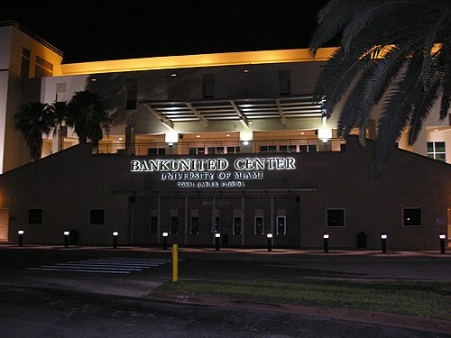 The Watsco Center on the University of Miami campus is the home arena of the Hurricanes' men's and women's basketball teams. BankUnited Center.JPG