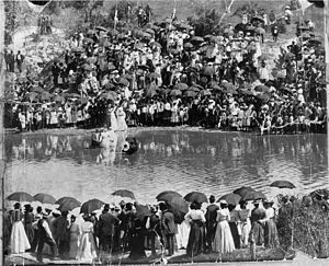 African-American history - A large group of African-American spectators stands on the banks of Buffalo Bayou to witness a baptism (ca. 1900).