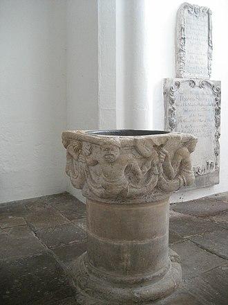 St Peter's Church, Cambridge - Image: Baptismal font at St Peter's Church, Cambridge 002
