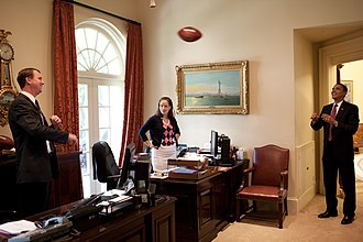 Katie Johnson (presidential secretary) - Image: Barack Obama playing football in secretary's office