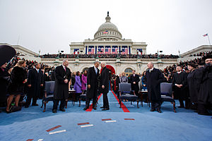 Second inauguration of Barack Obama - Obama talks with Biden during the inaugural swearing-in ceremony.